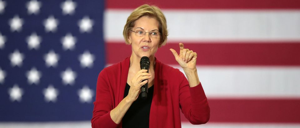 Democratic presidential candidate Sen. Elizabeth Warren speaks to guests during a campaign stop at Hempstead High School on Nov. 2, 2019 in Dubuque, Iowa. (Scott Olson/Getty Images)
