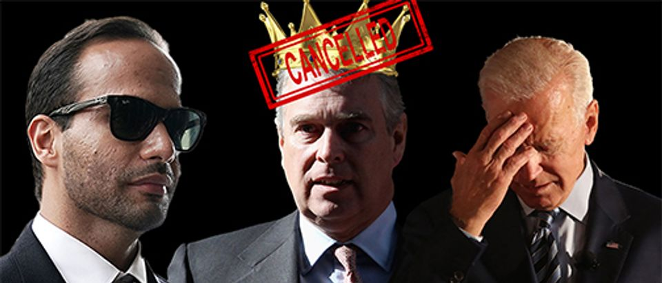 George Papadopoulos, Prince Andrew, Donald Trump (Getty Images, Shutterstock, Daily Caller)