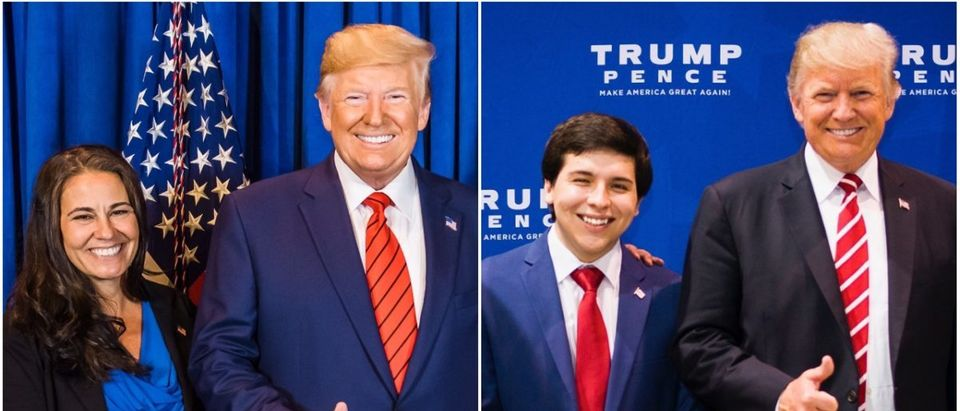 Left: Joanna Kamis and President Donald Trump, Right: Chris Chavez and President Donald Trump