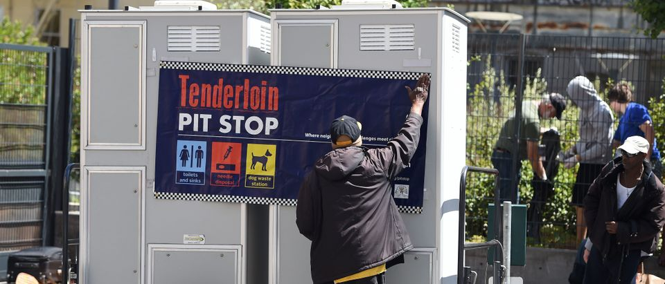 Portable toilets in the Tenderloin district of San Francisco, California (JOSH EDELSON/AFP via Getty Images)