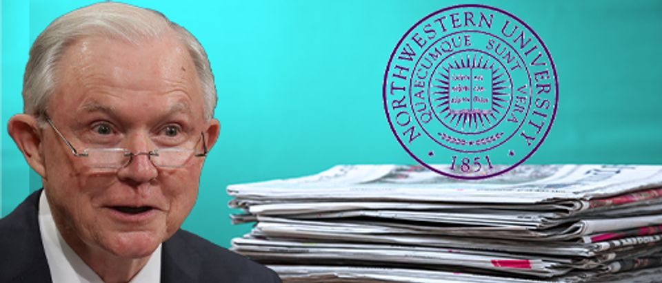 Jeff Sessions, Northwestern University Crest (Getty Images, Shutterstock, Daily Caller)