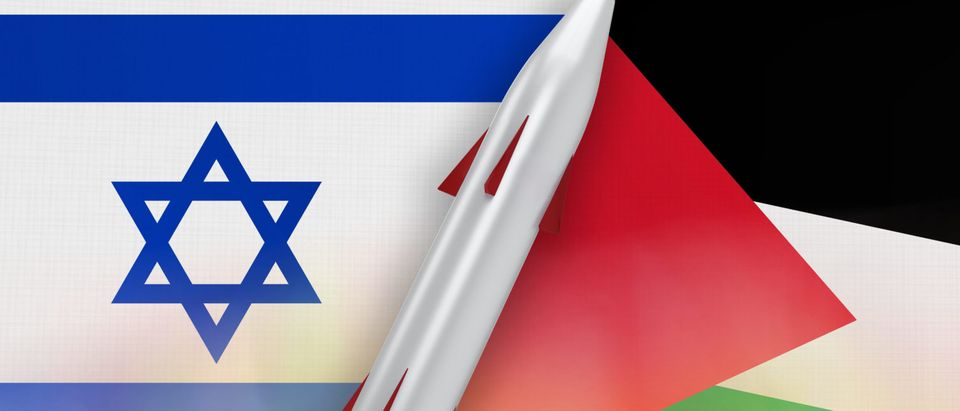Missile of Israel and Palestine on flags background