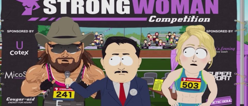 "South Park jumped into the transgender athlete debate Wednesday in the series' newest episode, in which a character resembling professional wrestler ""Macho Man"" Randy Savage dominates women's sports after identifying as transgender woman ""Heather Swanson."" Video screenshot/Comedy Central"