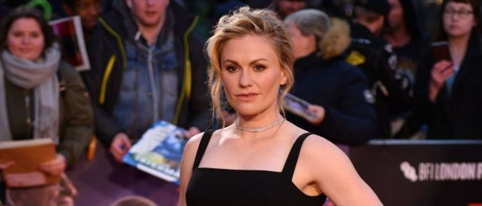 """New Zealand-born actor Anna Paquin arrives to attend the international premiere of the film """"The Irishman"""" during the closing night gala of the 2019 BFI London Film Festival in London on October 13, 2019. (Photo by DANIEL LEAL-OLIVAS/AFP via Getty Images)"""