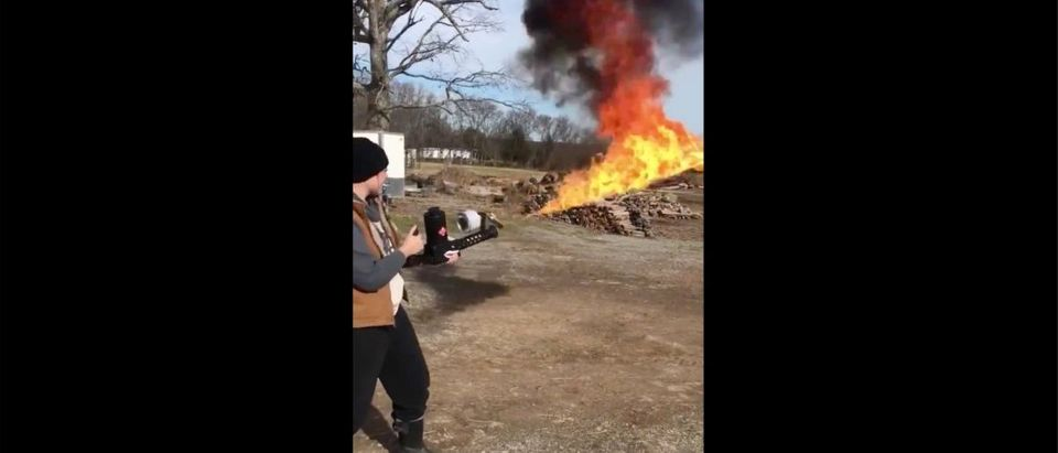 Flamethrower Video (Credit: Screenshot/Twitter Video https://twitter.com/katievanslyke/status/1209896306094804998?s=21)