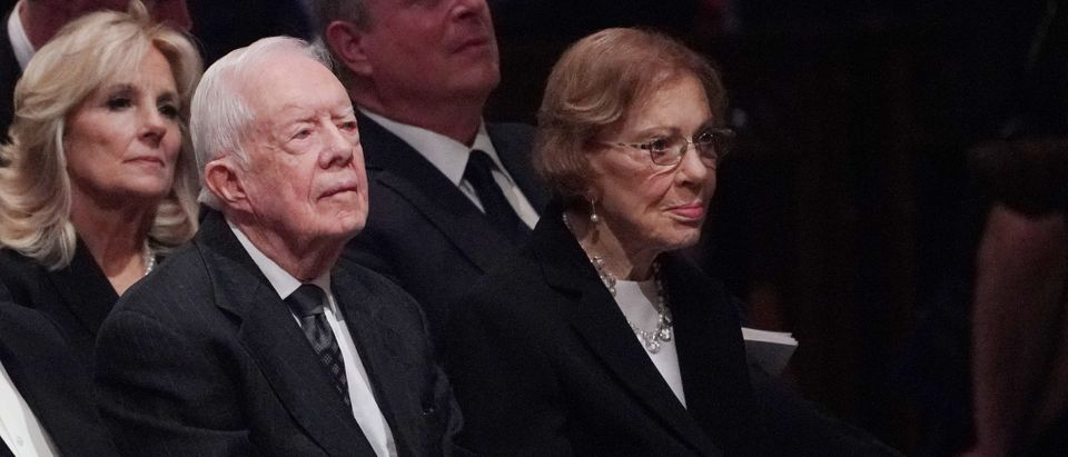 Former US President Jimmy Carter and former US First Lady Rosalynn Carter attend the funeral service for former US president George H. W. Bush at the National Cathedral in Washington, DC on December 5, 2018. (MANDEL NGAN/AFP via Getty Images)