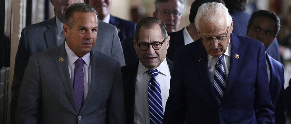 U.S. Rep. Jerry Nadler (D-NY), chairman of House Judiciary Committee, arrives with Rep. Bill Pascrell (D-NJ) and Rep. David Cicilline (D-RI) at a House Democratic Caucus meeting at the U.S. Capitol September 25, 2019 in Washington, DC. House Democrats met to discuss their agenda one day after Speaker of the House Rep. Nancy Pelosi has announced a formal impeachment inquiry into President Donald Trump. (Photo by Alex Wong/Getty Images)