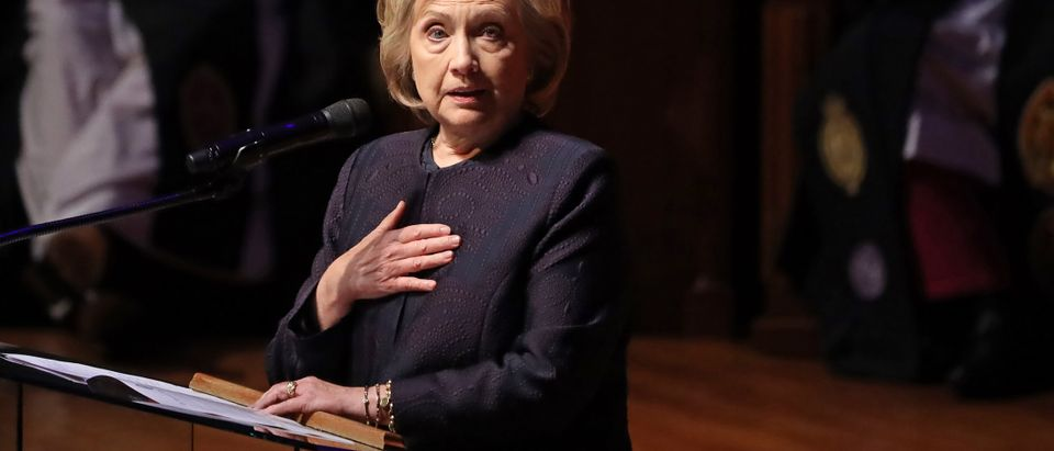 Former first lady and Secretary of State Hillary Clinton delivers remarks during the funeral service for Rep. Elijah Cummings (D-MD) at New Psalmist Baptist Church on October 25, 2019 in Baltimore, Maryland. (Chip Somodevilla/Getty Images)