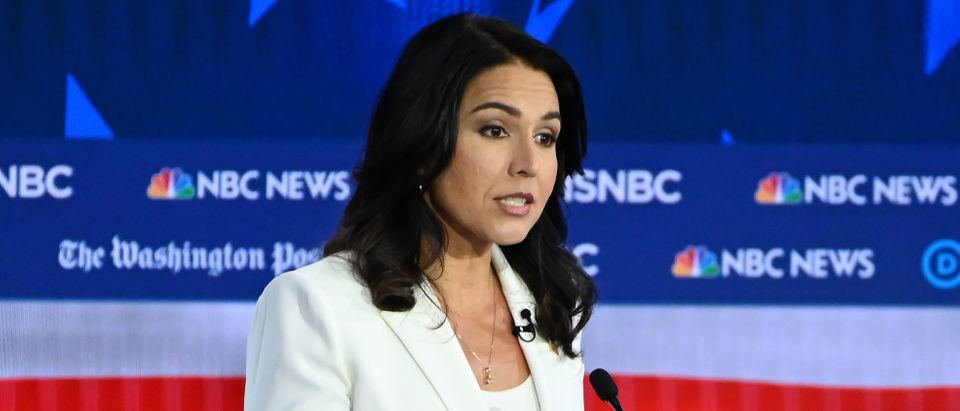 Democratic presidential hopeful Representative for Hawaii Tulsi Gabbard speaks during the fifth Democratic primary debate of the 2020 presidential campaign season co-hosted by MSNBC and The Washington Post at Tyler Perry Studios in Atlanta, Georgia on Nov. 20, 2019. (Photo by SAUL LOEB/AFP via Getty Images)