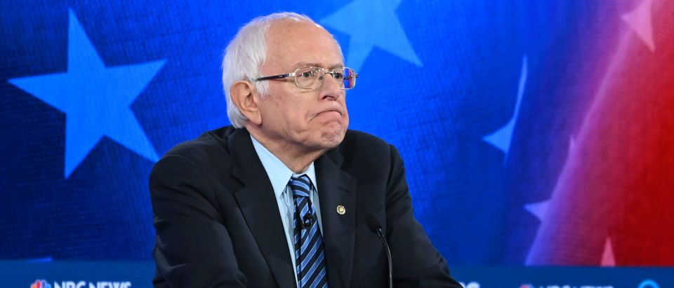 In this file photo taken on Nov. 20, 2019, Democratic presidential hopeful Vermont Sen. Bernie Sanders participates in the fifth Democratic primary debate of the 2020 presidential campaign season co-hosted by MSNBC and The Washington Post at Tyler Perry Studios in Atlanta, Georgia. (Photo by SAUL LOEB/AFP via Getty Images)