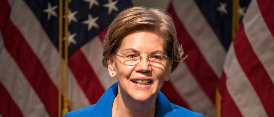 Democratic presidential candidate Sen. Elizabeth Warren (D-MA) delivers an economic policy speech on December 12, 2019 in Manchester, New Hampshire. (Scott Eisen/Getty Images)