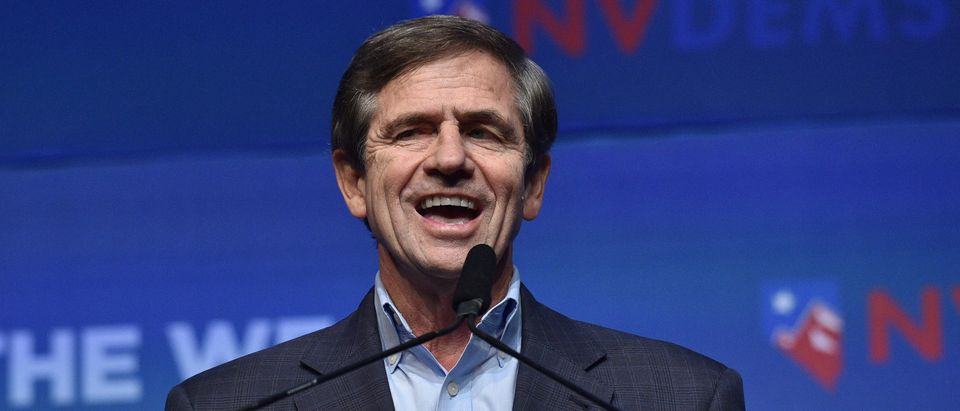 "Democratic presidential candidate Joe Sestak speaks during the Nevada Democrats' ""First in the West"" event at Bellagio Resort & Casino on Nov. 17, 2019 in Las Vegas, Nevada. (David Becker/Getty Images)"