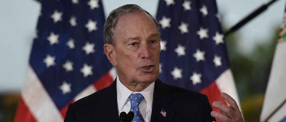 Former New York Mayor and Democratic presidential candidate Michael Bloomberg speaks about his plan for clean energy during a campaign event at the Blackwall Hitch restaurant in Alexandria, Virginia on Dec. 13, 2019. (OLIVIER DOULIERY/AFP via Getty Images)