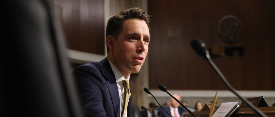 Senate Armed Services Committee member Sen. Josh Hawley questions witnesses during a hearing in the Dirksen Senate Office Building on Capitol Hill Dec. 3, 2019 in Washington, D.C. (Photo by Chip Somodevilla/Getty Images)