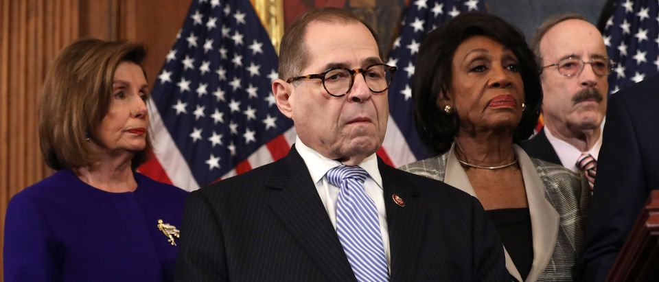 (L-R) Speaker of the House Rep. Nancy Pelosi (D-CA), Chairman of House Judiciary Committee Rep. Jerry Nadler (D-NY), Chairwoman of House Financial Services Committee Rep. Maxine Waters (D-CA) and Chairman of House Foreign Affairs Committee Rep. Eliot Engel (D-NY) listen during a news conference at the U.S. Capitol December 10, 2019 in Washington, DC. Chairman Nadler announced that the House Judiciary Committee is introducing two articles on abuse of power and obstruction of Congress for the next steps in the House impeachment inquiry against President Donald Trump. (Photo by Alex Wong/Getty Images)
