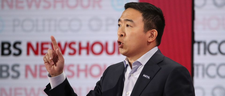 Democratic presidential candidate former tech executive Andrew Yang speaks during the Democratic presidential primary debate at Loyola Marymount University on December 19, 2019 in Los Angeles, California. (Justin Sullivan/Getty Images)