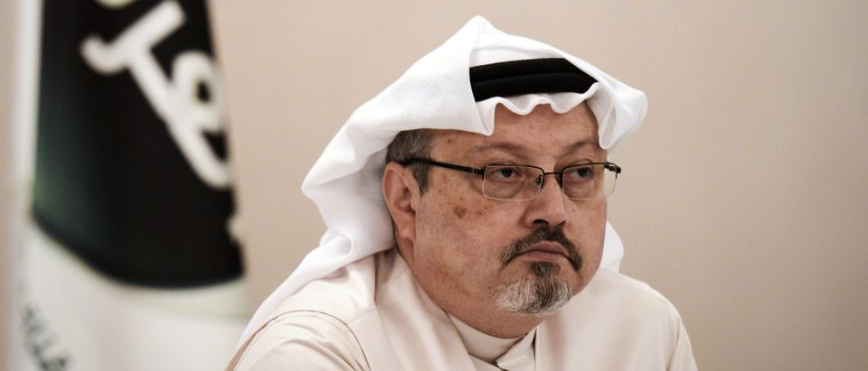 A general manager of Alarab TV, Jamal Khashoggi, looks on during a press conference in the Bahraini capital Manama, on December 15, 2014.(MOHAMMED AL-SHAIKH/AFP via Getty Images)