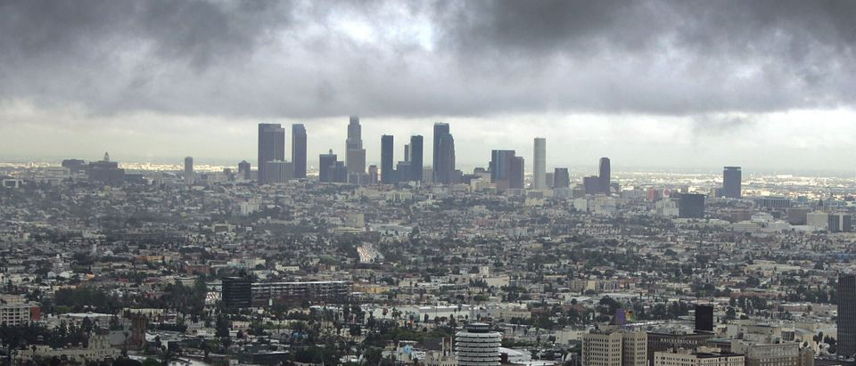 Downtown Los Angeles (top) and Hollywood (R) are visible during a short break in the rain as the region is under a tornado watch and Orange County is under a tornado warning Feb. 22, 2005 in Los Angeles, California. (Photo by David McNew/Getty Images)