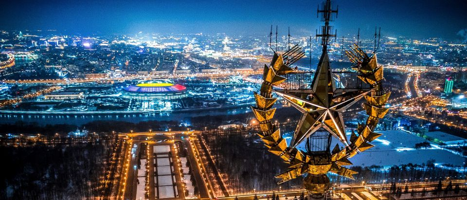 An aerial view taken in Moscow on Jan. 27, 2018 shows a star on top of the Moscow State University, Luzhniki Stadium and the Moskva River. (Photo: DMITRY SEREBRYAKOV/AFP via Getty Images)