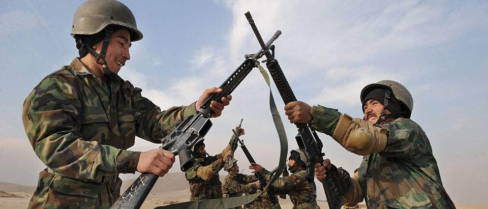 Afghan soldiers, armed with US-made M16