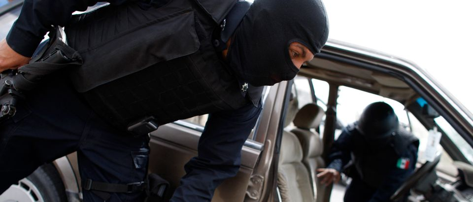 Federal policemen search a car for weapons and drugs at a checkpoint in the border city of Ciudad Juarez