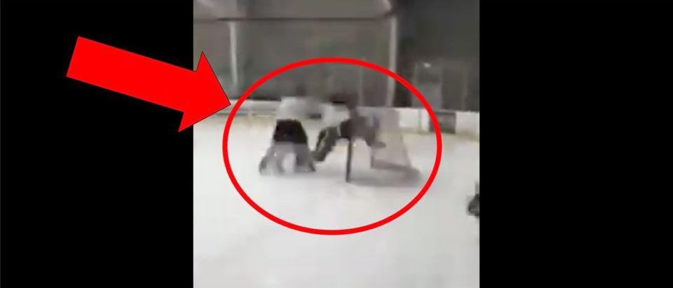 Hockey Hit (Credit: Screenshot/Twitter Video https://twitter.com/barstoolsports/status/1204762054315384842)