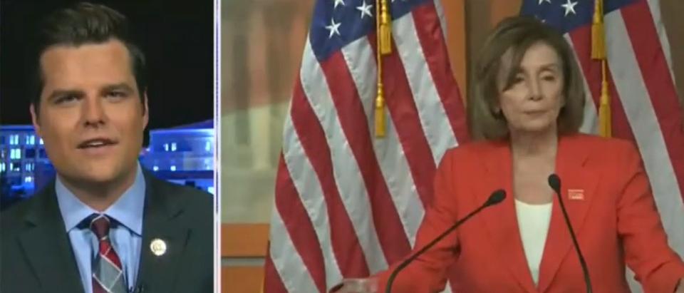 Matt Gaetz discusses Pelosi not sending articles to Senate (Fox News screengrab)
