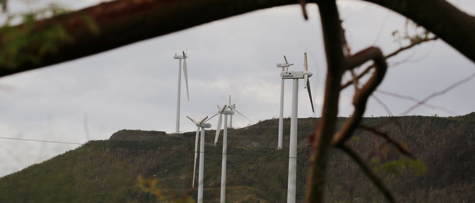 Wind turbines broken off by high winds stand following Hurricane Maria near Humacao