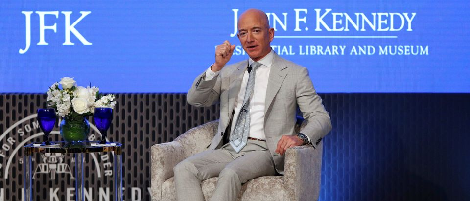 Jeff Bezos, founder of Amazon and Blue Origin, speaks during the JFK Space Summit, celebrating the 50th anniversary of the moon landing, at the John F. Kennedy Library in Boston, Massachusetts, U.S., June 19, 2019. REUTERS/Katherine Taylor