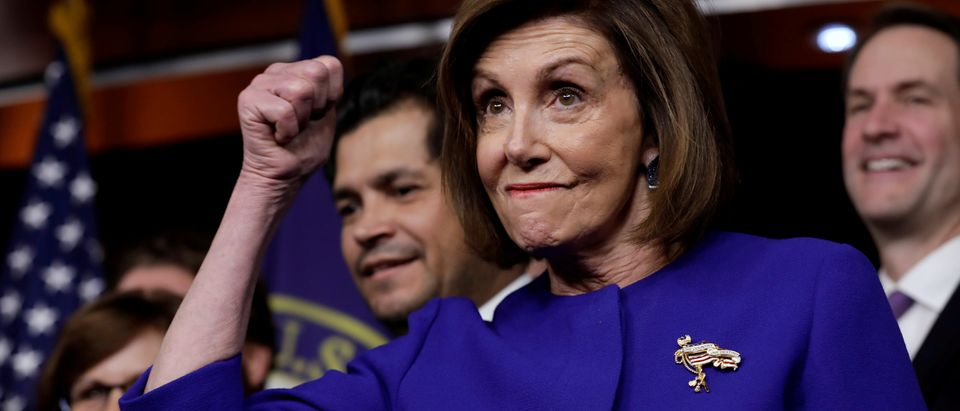 U.S. House Speaker Nancy Pelosi (D-CA) gestures during a news conference on the USMCA trade agreement on Capitol Hill in Washington, U.S., December 10, 2019. REUTERS/Yuri Gripas