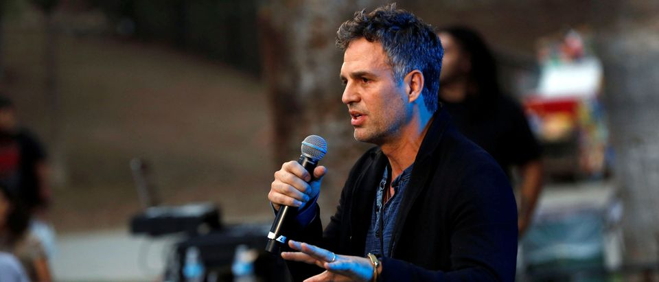 Actor Mark Ruffalo speaks during a climate change rally in solidarity with protests of the pipeline in North Dakota at MacArthur Park in Los Angeles, California