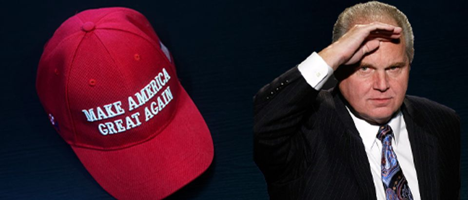 MAGA hat, Rush Limbaugh (Getty Images, Shutterstock, Daily Caller)
