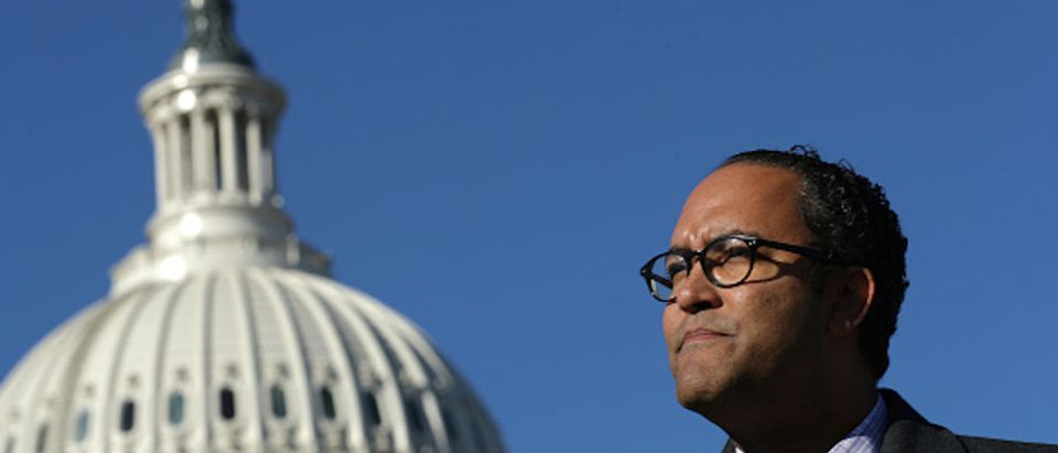Rep. Will Hurd (R-TX) (C) joins a group of bipartisan members of Congress from Texas to push for the House of Representatives to pass the U.S. Mexico Canada trade agreement