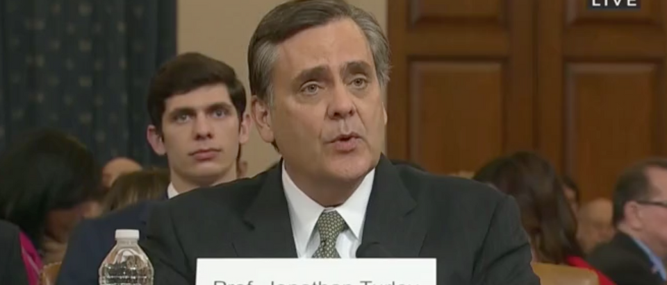 George Washington University Law Professor Jonathan Turley testifies before Congress. Screen Shot/C-Span