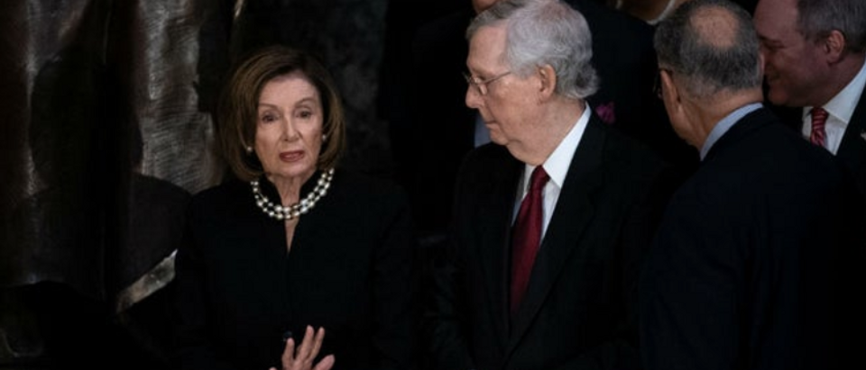 Nancy Pelosi with Mitch McConnell