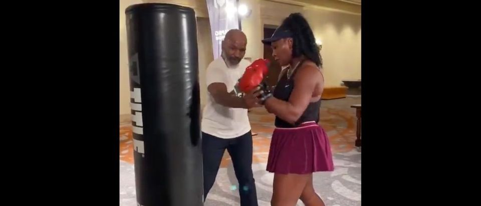 Serena Williams (Credit: Screenshot/Twitter Video https://twitter.com/MikeTyson/status/1207466348940410880)