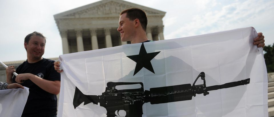 Gun rights activists outside the Supreme Court on June 26, 2008. (Tim Sloan/AFP/Getty Images)