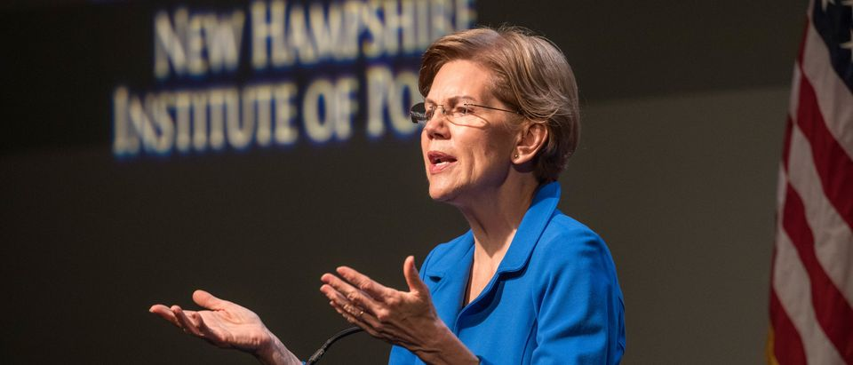 MANCHESTER, NH - DECEMBER 12: Democratic presidential candidate Sen. Elizabeth Warren (D-MA) gestures as she delivers an economic policy speech on December 12, 2019 in Manchester, New Hampshire. The Iowa Caucuses are less than two months away. (Photo by Scott Eisen/Getty Images)