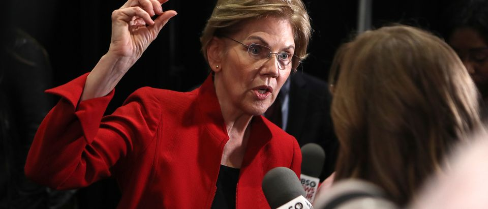 Sen. Elizabeth Warren speaks with the media after the Democratic presidential primary debate at Loyola Marymount University on Dec. 19, 2019 in Los Angeles, California. (Photo by Mario Tama/Getty Images)