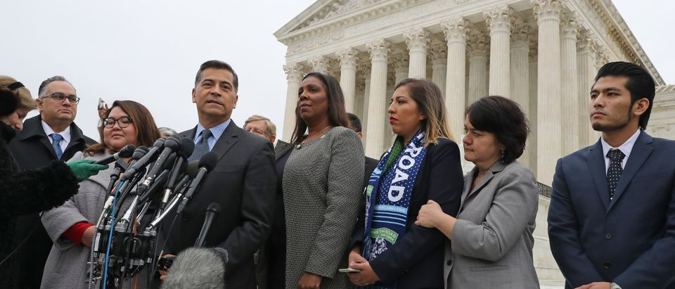 California Attorney General Xavier Becerra and New York Attorney General Letitia James speak outside the Supreme Court on November 12, 2019. (Chip Somodevilla/Getty Images)