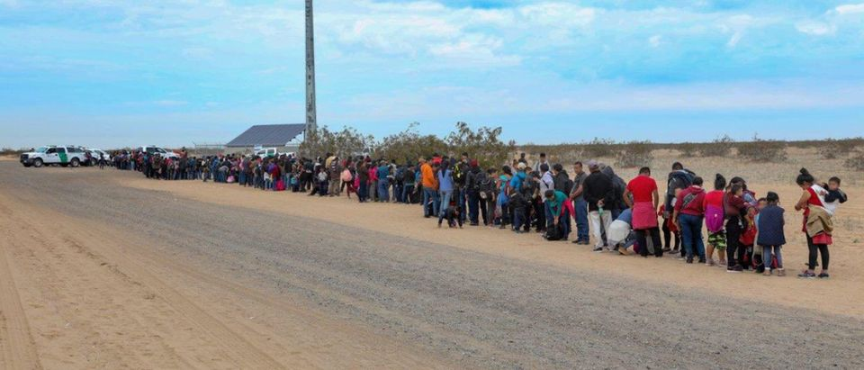 Handout photo of a large group of 376 migrants waiting in line to be processed after being detained by U.S. Customs and Border Protection after crossing the United States- Mexico border near Yuma