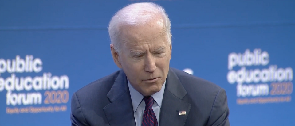 Former Vice President Joe Biden committed Saturday to ending the use of standardized testing in public schools if he's elected president in 2020. Screenshot/YouTube/MSNBC