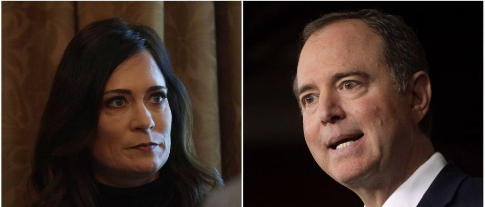Left: WH press secretary Stephanie Grisham (Getty Images), Right: Rep. Adam Schiff (Getty Images)