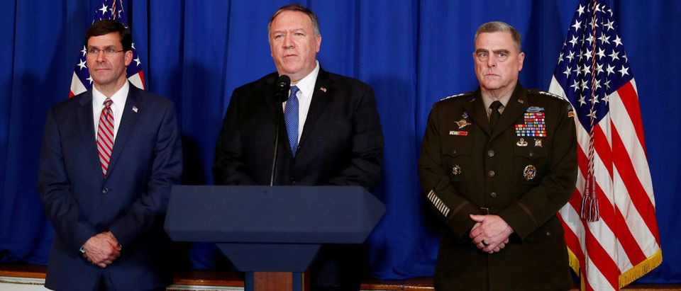 FILE PHOTO: U.S. Secretary of State Mike Pompeo speaks about airstrikes by the U.S. military in Iraq and Syria, at the Mar-a-Lago resort in Palm Beach, Florida