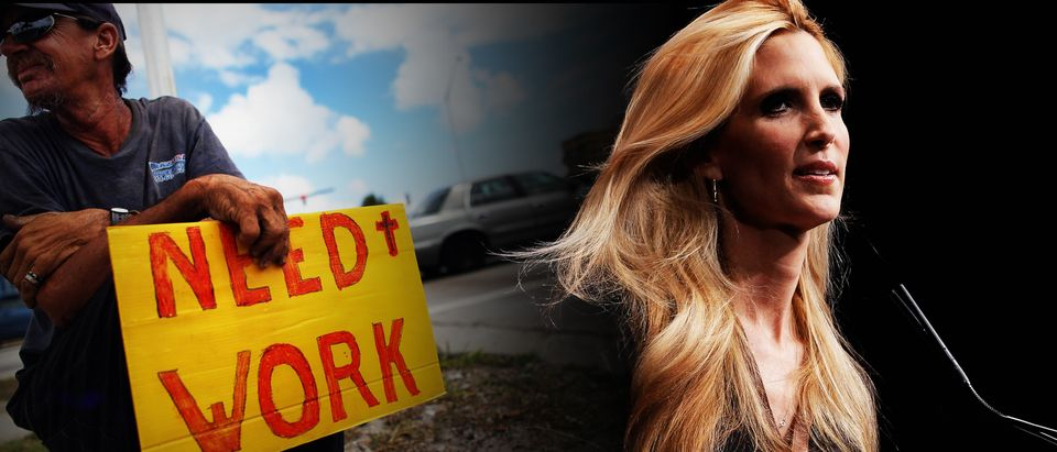 Working man, Ann Coulter (Getty Images, Shutterstock, Daily Caller)