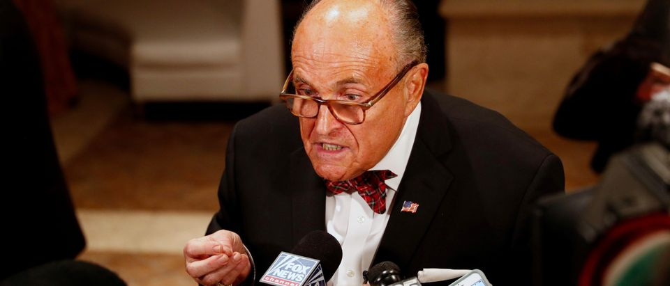 U.S. President Donald Trump's personal lawyer Rudy Giuliani is interviewed by the press at the Mar-a-Lago resort in Palm Beach