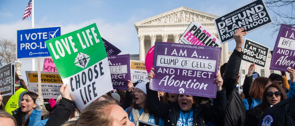 Pro-life activists outside the Supreme Court at the annual March for Life on January 18, 2019. (Saul Loeb/AFP/Getty Images)