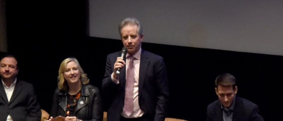 "Christopher Steele moderates discussion of ""The Great Hack,"" Jan. 6, 2020 in London."