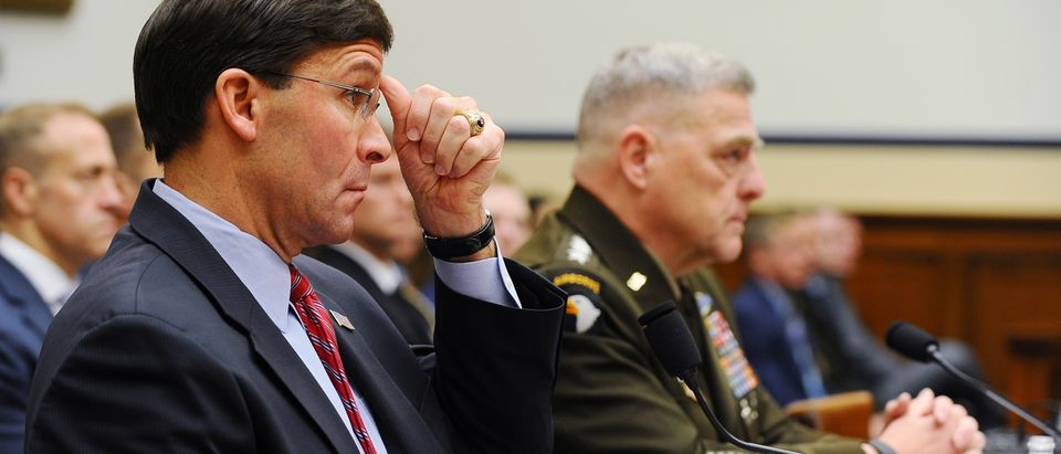 "U.S. Defense Secretary Mark Esper and Army Gen. Mark Milley, chairman of the Joint Chiefs of Staff, testify before a House Armed Services Committee hearing on ""U.S. Policy in Syria and the Broader Region,"" at the Rayburn House office building in Washington"