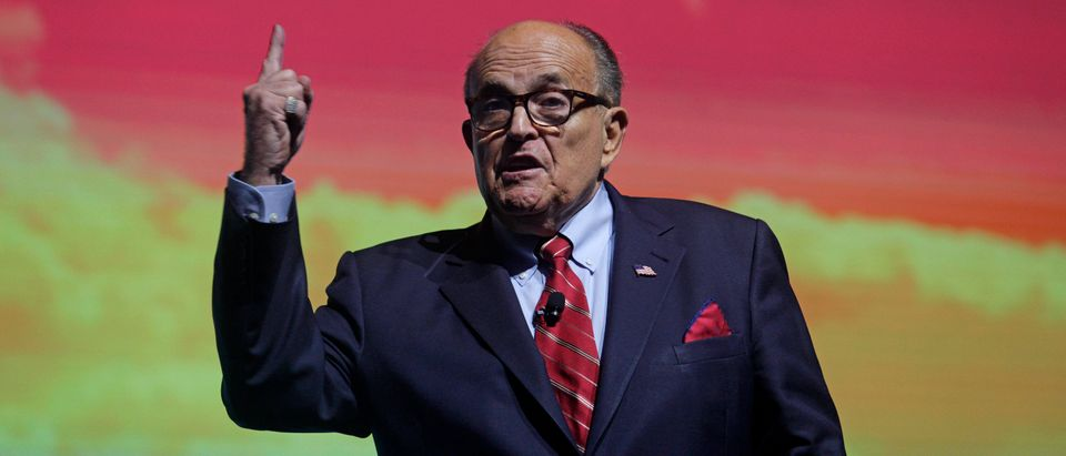 PALM BEACH, FL - DECEMBER 19: Trump Attorney Rudy Giuliani addresses the crowd at the Turning Point USA Student Action Summit on December 19, 2019 in Palm Beach, Florida. Conservative high school students gathered for a 4-day invite-only conference hosted by Turning Point USA to hear from conservative leaders and activists from across the U.S.(Photo by Saul Martinez/Getty Images)